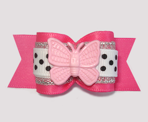 "#A7548 - 7/8"" Dog Bow - Little Princess, Pink/Silver, Butterfly"