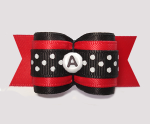 "#A7549 - 7/8"" Dog Bow - Red/Black w/Dots, Choose Your Letter"