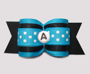 "#A7550 - 7/8"" Dog Bow - Black/Blue w/Dots, Choose Your Letter"