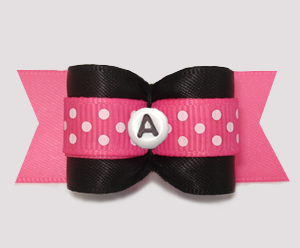 "#A7551 - 7/8"" Dog Bow - Black/Pink w/Dots, Choose Your Letter"