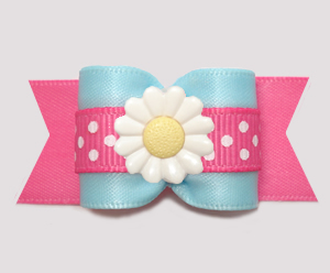 "#A7553 - 7/8"" Dog Bow - Delightful Daisy, Cotton Candy Blue/Pink"