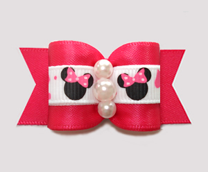 "#A7557 - 7/8"" Dog Bow - Minnie Mouse Cutie, Hot Pink"