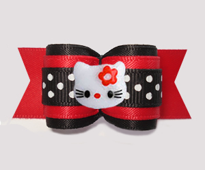 "#A7558 - 7/8"" Dog Bow - Hello Little Kitty w/Dots, Black/Red"