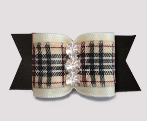 "#A7562 - 7/8"" Dog Bow - Classic Designer Plaid, Cream/Black"