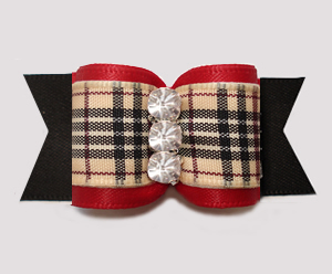 "#A7563- 7/8"" Dog Bow- Gorgeous Classic Designer Plaid, Red/Black"