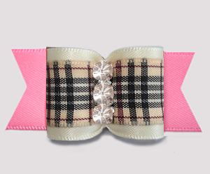 "#A7564 - 7/8"" Dog Bow - Classic Designer Plaid, Cream/Pink"