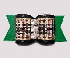 "#A7565 - 7/8"" Dog Bow - Classic Designer Plaid, Black/Green"