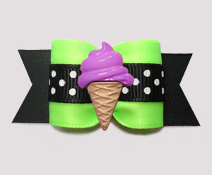 "#A7566 - 7/8"" Dog Bow - Yummy Ice Cream Cone, Lime/Black"