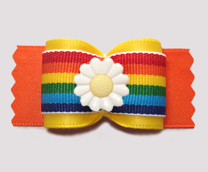 "#A7567 - 7/8"" Dog Bow - Bright Rainbow Stripes, Delightful Daisy"
