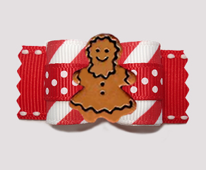 "#A7568 - 7/8"" Dog Bow- Candy Cane Stripes/Dots, Gingerbread Girl"