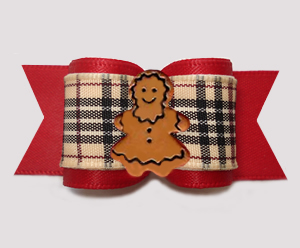 "#A7569 - 7/8"" Dog Bow - Gorgeous Designer Plaid/Red, Gingerbread"