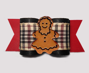 "#A7570 - 7/8"" Dog Bow - Designer Plaid, Red/Black, Gingerbread"