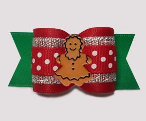 "#A7572- 7/8"" Dog Bow- Holiday Sparkle/Sprinkle Dots, Gingerbread"