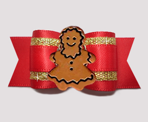 "#A7573 - 7/8"" Dog Bow - Holiday Beauty, Red/Gold, Gingerbread"