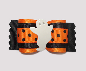 "#A7574 - 7/8"" Dog Bow - Classic Halloween Dots, Groovy Ghost"