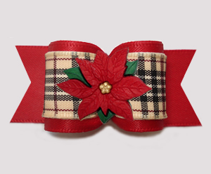 "#A7578 - 7/8"" Dog Bow - Holiday Poinsettia, Designer Plaid/Red"