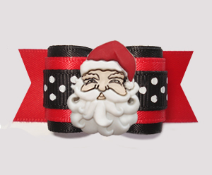 "#A7579- 7/8"" Dog Bow - Ho-Ho-Ho! Jolly Santa on Red/Black w/Dots"