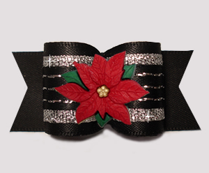 "#A7580 - 7/8"" Dog Bow - Gorgeous Glam, Black/Sparkle, Poinsettia"