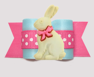 "#A7581- 7/8"" Dog Bow- Sweet Easter Bunny, Cotton Candy Blue/Pink"