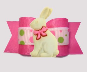 "#A75820 - 7/8"" Dog Bow - Spring Bunny, Pink/Lime Bubble Dots"