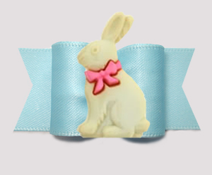 "#A7583 - 7/8"" Dog Bow - Hop To It! Easter Bunny, Powder Blue"