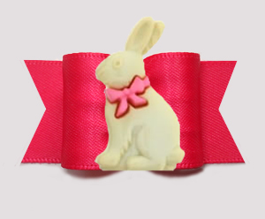 "#A7584 - 7/8"" Dog Bow - Hop To It! Easter Bunny, Hot Pink"