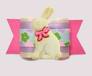 "#A7585 - 7/8"" Dog Bow - Sweet Spring Floral w/Easter Bunny"
