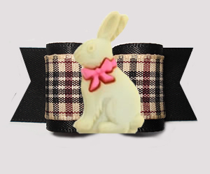 "#A7586- 7/8"" Dog Bow- Classic Easter Bunny, Designer Plaid/Black"