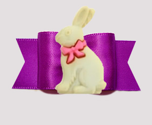 "#A7587 - 7/8"" Dog Bow - Hop To It! Easter Bunny, Orchid Purple"