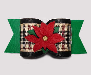 "#A7588 - 7/8"" Dog Bow - Designer Plaid, Poinsettia, Black/Green"