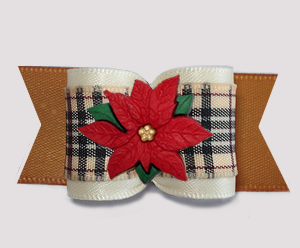 "#A7589 - 7/8"" Dog Bow - Designer Plaid, Poinsettia, Cream/Gold"