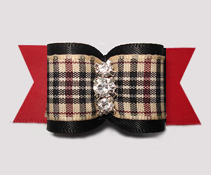 "#A7591 - 7/8"" Dog Bow - Classic Designer Plaid, Black/Red"
