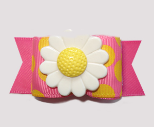 "#A7592 - 7/8"" Dog Bow - Pink Lemonade/Dizzy Dots with Daisy - Click Image to Close"