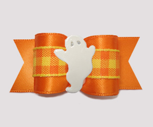 "#A7593 - 7/8"" Dog Bow - BOO-tiful Ghost, Candy Corn Plaid/Orange"