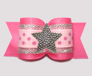 "#A7594- 7/8"" Dog Bow - My Pretty Little Star, Pink/Silver w/Dots"
