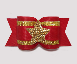 "#A7595 - 7/8"" Dog Bow - Classic Red Satin w/Gold, Star"