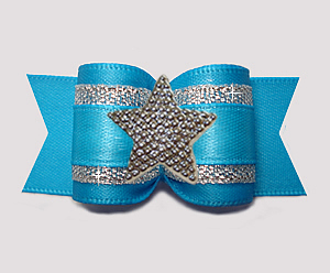"#A7597 - 7/8"" Dog Bow - Vibrant Blue Satin w/Silver, Star"