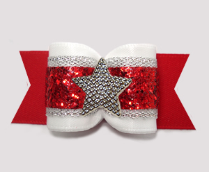 "#A7602- 7/8"" Dog Bow - Stunning Red/White/Silver & Glitter, Star"