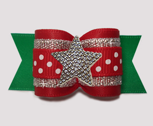 "#A7603 - 7/8"" Dog Bow - Red/Silver/Green, Sparkle & Dots, Star"