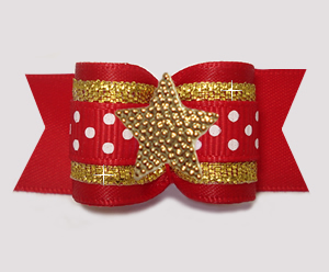 "#A7604 - 7/8"" Dog Bow- Red/Gold with Sparkle & Dots, Star"