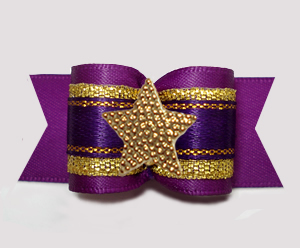 "#A7605 - 7/8"" Dog Bow - Gorgeous Regal Purple/Gold, Star"