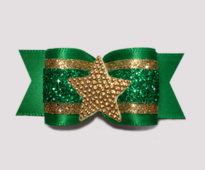 "#A7606 - 7/8"" Dog Bow - Gorgeous Glitter, Green/Gold, Star"
