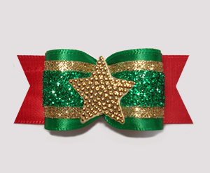 "#A7607 - 7/8"" Dog Bow - Festive Glitter, Green/Red/Gold, Star"
