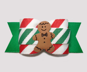 "#A7609- 7/8"" Dog Bow - Sweet Candy Cane Stripes, Gingerbread Man"