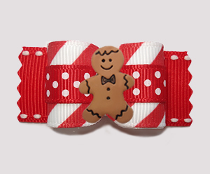 "#A7610 - 7/8"" Dog Bow - Candy Cane Stripes/Dots, Gingerbread Boy"