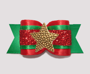 "#A7611- 7/8"" Dog Bow- Fancy Festive, Holiday Red/Green/Gold Star"