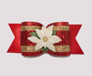 "#A7612 - 7/8"" Dog Bow - Showy Red Glitter/Gold, Poinsettia"