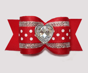 "#A7613 - 7/8"" Dog Bow - Red/Silver with Sparkle/Dots, Love Heart"