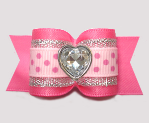 "#A7614- 7/8"" Dog Bow - Pink/Silver with Sparkle/Dots, Love Heart"