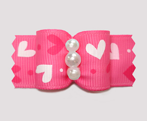 "#A7615 - 7/8"" Dog Bow - Pink Sweetheart Bow, Faux Pearls"